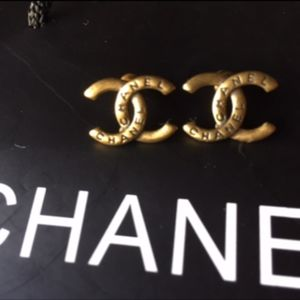 Authentic Vintage Chanel Gold Signature Earrings